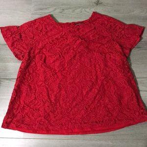 Liz Claiborne Red Lace Top